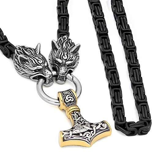 WDBAYXH Viking Black Mixed Gold Thor's Hammer Pendant Fenrir Wolf Head Black King Chain Necklace,Mjolnir Amulet Handmade Stainless Steel Norse Scandinavian Celtic Pagan Jewelry,Gold,90CM