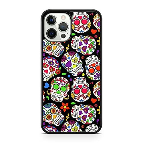 Funda para teléfono con diseño fino y elegante con diseño de caña de caramelo y calaveras de azúcar (modelo de teléfono: Apple iPhone 5)