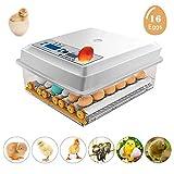 Incubadora automática de huevos con 16 huevos de giro automático, control de temperatura ajustable con luz LED integrada para pollo, pato, ojo, palomas