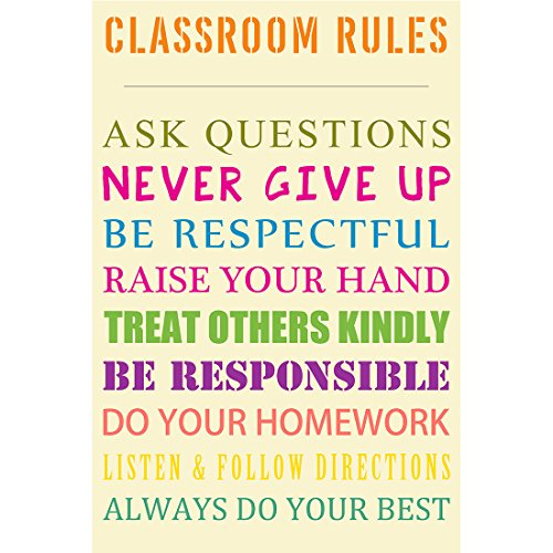 meishe Art Poster Print Klassenzimmer Regeln New Inspirierende Zitate Spruch Never Give Up immer Do Your Best Motivational Spruch Wand Decor 11.81'' x 17.72''