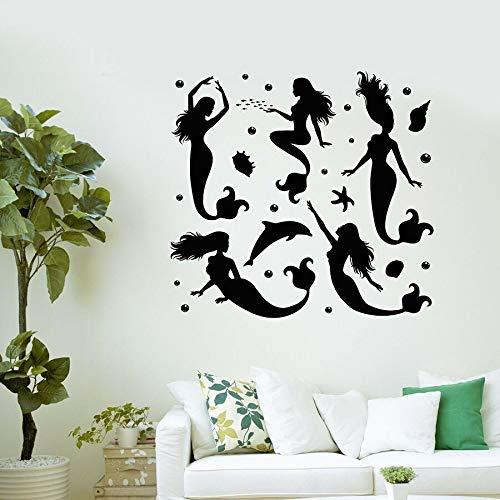 HFDHFH Sirena Pegatinas de Pared delfín océano Tema Estilo baño Dormitorio decoración del hogar 74X78 CM
