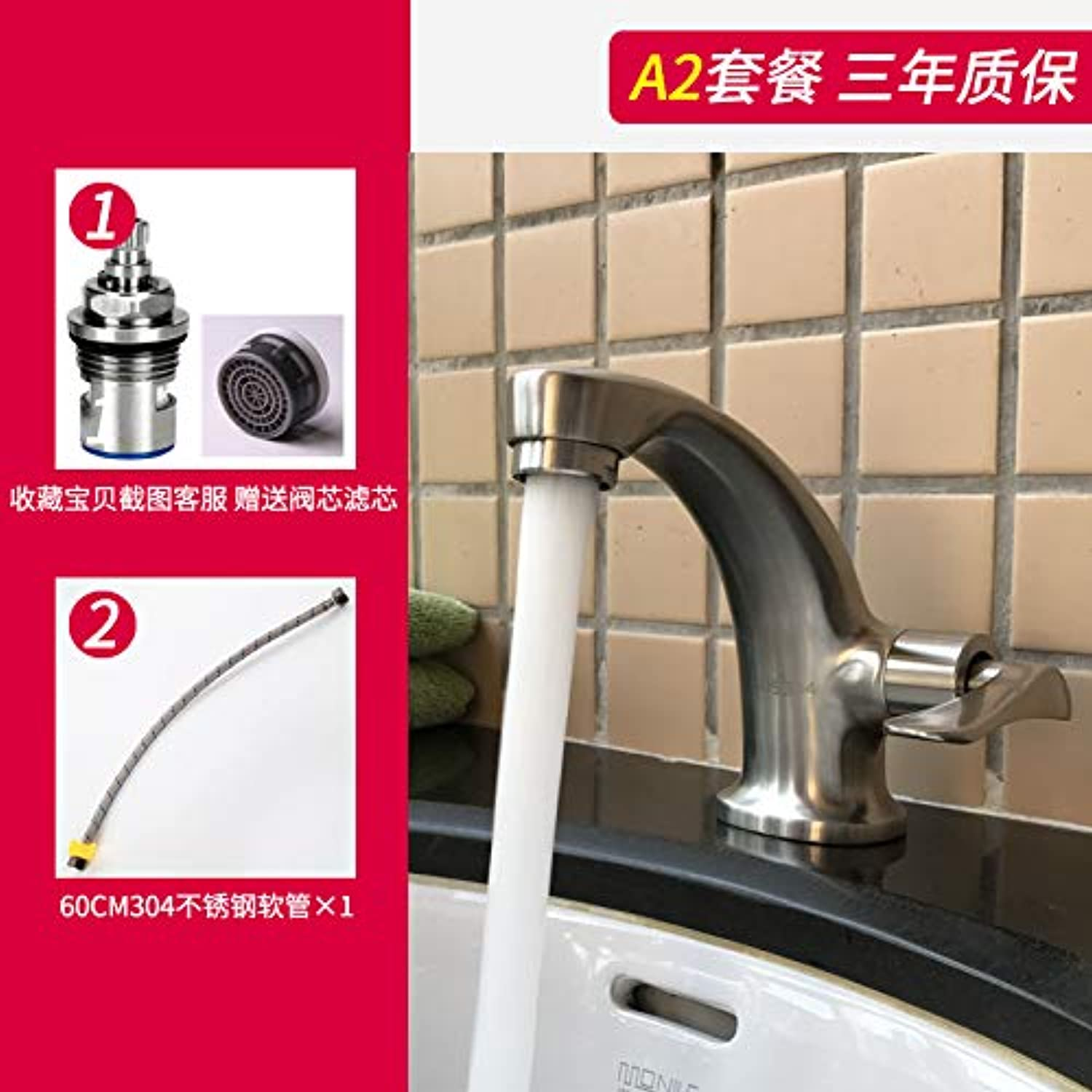 JWLT faucets Export Sharp Goods 304 Stainless Steel Basin Faucet Single Cold Hand Washing Dish Balcony Creative Faucet Without Lead,A2