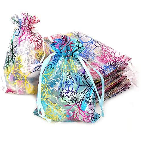 YuChiSX Bolsas de Organza,bolsitas de Organza Bolsas de Tul,60 Piezas Bolsos Regalo Caramelo Bolsa para Boda Favores y Joyas