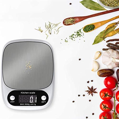 YING Básculas De Cocina Báscula De Cocina para Hornear Digital, Electrónica con Pantalla LCD, Báscula De Acero Inoxidable, Función De Tara, Impermeable, 4 Unidades (G/ML/OZ/LB.OZ),Blanco,5KG 0.1g