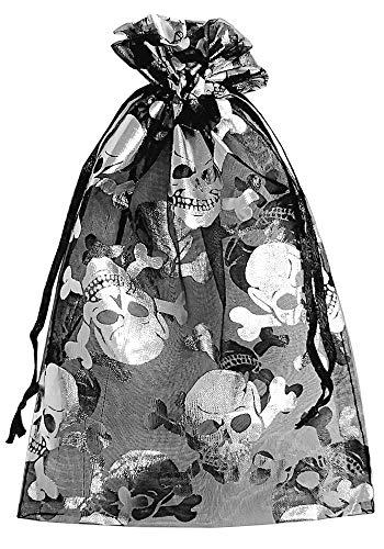 30 bolsas de organza con estampado de calavera, óptica metálica, calavera, Halloween, fiesta, decoración de horror (20x12cm)