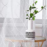MIULEE 2er Set Voile Marokko Vorhang Sheer mit Ösen Transparente Optik Gardine Ösenschal Wohnzimmer Fensterschal Luftig Lichtdurchlässig Dekoschal für Schlafzimmer 225 x 140cm (H x B)