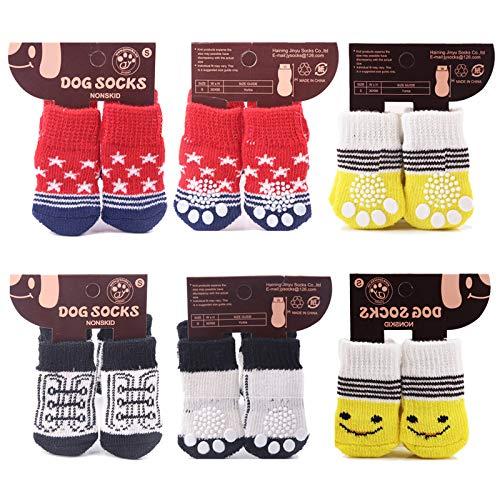 Elinala Calcetines Perro, Zapatos para Perros, 12 Calcetines de Goma Antideslizantes para...