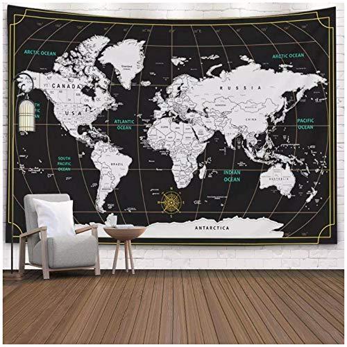 KBIASDTapices en Blanco y Negro de Travel Map World Fondo Negro Dormitorio para Vivir decoración de la Pared del hogar 200x150cm