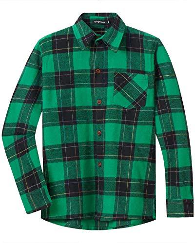 Spring&Gege Jungen Langärmliges Kariertes Button-Down Flanellhemd für Kinder, Grün schwarz, 140-146