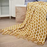 Lalifit Knit Throw Blanket 100% Acrylic Lightweight Decorative Blankets with Tassels 50×60 Inch Solid Soft Throw Cover for Couch Sofa Bed Home Decor (Yellow White)