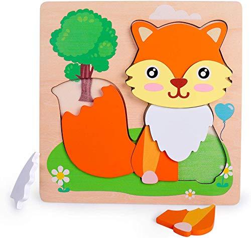 Rolimate houten puzzels voor peuters - vospatroon dieren puzzels voor 2 3 4-jarige jongens en meisjes, kleuterschool Montessori-speelgoed voor de verjaardag, educatief speelgoed