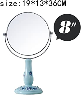 KTYXGKL Continental Desktop Mirror Creative Simple Double-Sided Mirror Princess Dressing Mirror Large 8 Inches Makeup Mirror (Color : A)