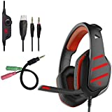 Beexcellent GM-3 Gaming Headset, Noise Isolating 3.5mm Overear Headphones with Mic LED Light Volume Control Splitter for PS4 Xbox One PC Laptop Tablet Phone (Red)