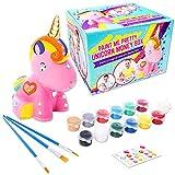 GirlZone Regalos para Niñas - Hucha Unicornio para Pintar - Kit Pintura para Niñas y Accesorios Infantiles -Pinceles, Colores y Gemas - Regalo de Navidad 3 a 12 años Cumpleaños y Fiestas