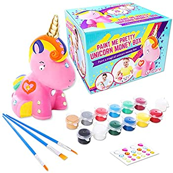 GirlZone Paint Your Own Unicorn Piggy Bank for Girls Includes a Cute Unicorn to Paint for Kids with Metallic Paints gems and Glitter Paint a Great Girl Piggy Bank Gift for Girls Age 6-8