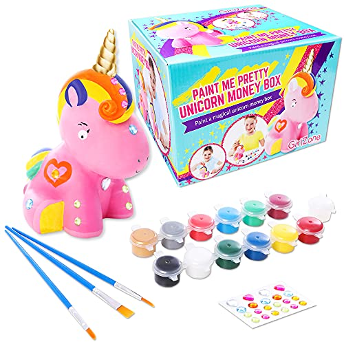 GirlZone Paint Your Own Unicorn Piggy Bank for Girls, Includes a Cute Unicorn to Paint for Kids with Metallic Paints, gems and Glitter Paint, a Great Girl Piggy Bank Gift for Girls Age 6-8