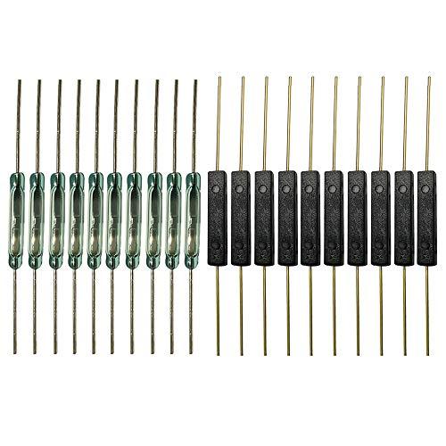 Gebildet 20pcs Interruptor de Lengüeta(10pcs Plástico Interruptor de Lengüeta+10pcs Vidrio Interruptor de lengüeta), Interruptor Magnético Normalmente Abierto (N/O)(2.5 mm×14 mm)&(2mm×14mm)