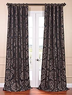 HPD Half Price Drapes JQCH-201301-84 Astoria Faux Silk Jacquard Curtain, 50 X 84, Black/Pewter