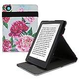 kwmobile Funda Compatible con Kobo Aura H2O Edition 2 - Carcasa para e-Book de Cuero sintético - Magnolias Grandes Violeta/Rosa Claro/Azul Claro