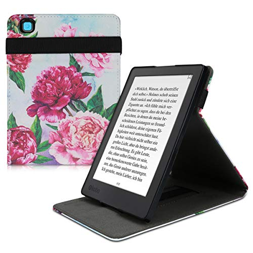 kwmobile Cover for Kobo Aura H2O Edition 2 - PU Leather e-Reader Case with Built-In Hand Strap and Stand - Violet/Light Pink/Light Blue