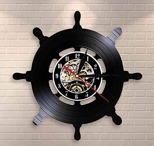 hutianyu kapitein schip wiel muur kunst schip sturen woonkamer muur Decor Vinyl Record muur klok reizen zee zeilen mariner zeelui cadeau