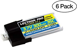 (6 Pack) Lectron Pro 3.7V 300mAh 35C Lipo Battery with MCPX Connector for Blade Nano QX 3D and mCP X