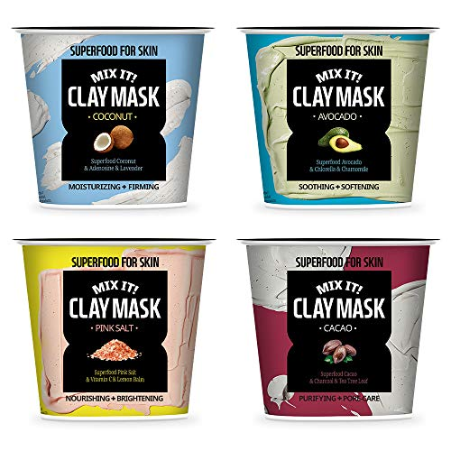 FARMSKIN Super Food Mix it! Clay Mask Facial Clay Masque Set (Pack of 4)
