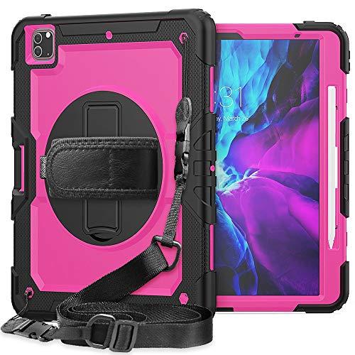 Tablet PC Bolsas Bandolera Cubierta protectora para iPad Pro 12.9 pulgadas 2020 a prueba de golpes a prueba de golpes, pienso giratorio de 360 grados y correa de mano y correa de hombro PC + Funda p