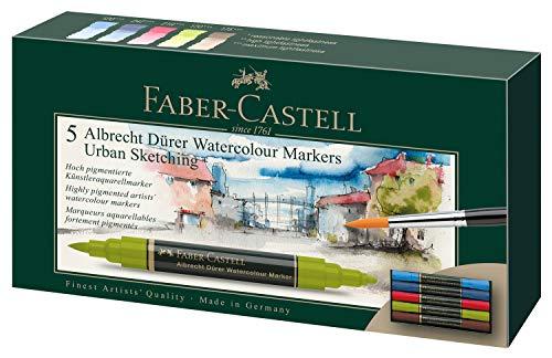 Faber-Castell 160308 Aquarellmarker Albrecht Dürer mit Doppelspitze für flächigen und präzisen Farbauftrag, 5er Etui, Urban Sketching
