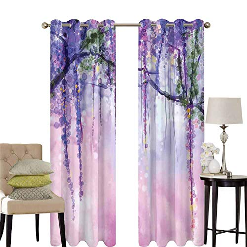 hengshu Watercolor Flower Pattern Curtains Blackout Wisteria Flowers on Blurred Background with Dreamy Colors Bedroom Decor Living Room Decor W100 x L84 Inch Purple Pale Pink Green