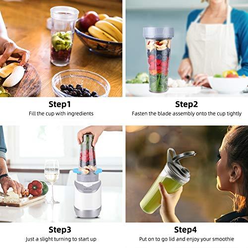 La Reveuse Smoothies Blender Personal Size 400 Watts with 18 oz BPA Free Portable Travel Sports Bottle, White