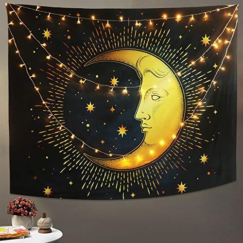 Azul negro luna creciente estrellas tapiz psicodélico popular colgante de pared de mitos egipcios tapiz de mandala bohemio retro para dormitorio sala de estar arte decoración del hogar (200x150cm)