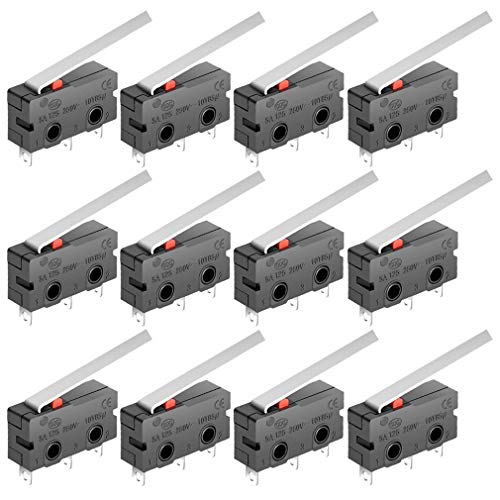 DIYhz waterproof Momentary Hinge Roller Lever Micro Switches 10A 125 250V NC NO COM line length 30CM 10301