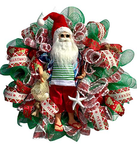 Coastal Christmas 18' Santa Claus Wreath Holding a Starfish & Bag of Shells. Wreath has Nautical Knots & Red Ball Ornaments. Very Full, Made with Weatherproof Fabric, Measures 20x20x6
