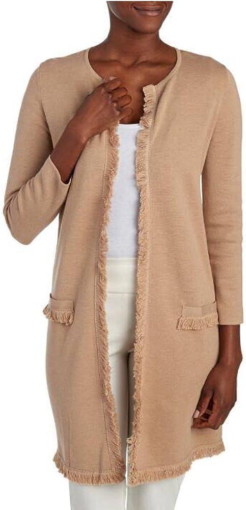 Kasper Women's 3/4 Sleeve Fringed Cardigan Sweater, Canvas