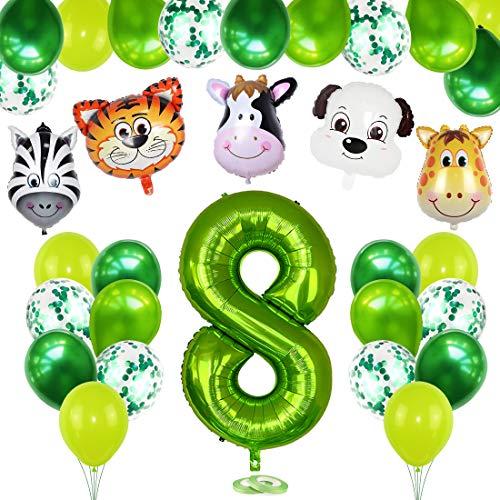 Bluelves 8. Geburtstag Dekoration Set, 8 Jahre Kindergeburtstag Deko, Grün Luftballons Safari Tier Folienballons für Kindergarten Dekoration Urwald Party Geburtstag Junge Mädchen