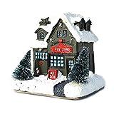 fuguzhu Pueblo De Navidad Iluminado, Casa De Navidad LED Mini Casas 3D, Casas De Pueblo De Resina Iluminadas para Decoración De Casa De Muñecas De Fiesta De Navidad
