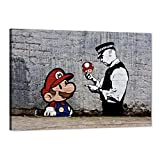 Graffiti Banksy Wall Art Pictures Super Mario Brothers Mushroom Street Art Painting Prints on Canvas Moderm Posters Artwork Home Decorations for Living Room Bedroom Office Framed - 12'Wx18'H