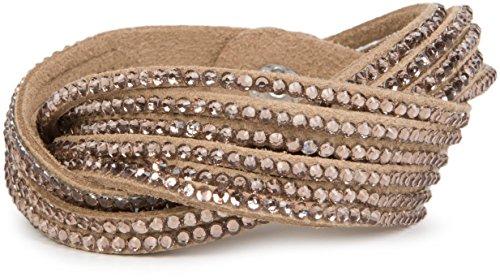 styleBREAKER weiches Strass Armband, eleganter Armschmuck mit Strassteinen, Wickelarmband, 6x1-Reihig, Damen 05040005, Farbe:Hellbraun/Hellbraun