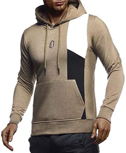 Leif Nelson Camiseta deportiva de manga larga con capucha para hombre, de corte ajustado, para entrenamiento de culturismo, LN8345 caqui-negro L