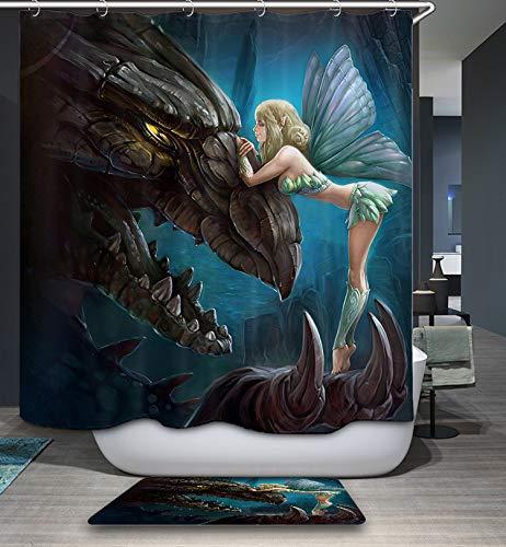 GoJeek Fairy Dragon Shower Curtain, Myths Little Fairy with Angry Dragon Shower Curtain Bathroom Decor
