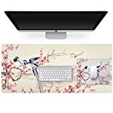 Multifunctional PU Leather Office Desk Pad (35.4''X15.7'') +Rubber Mouse Pad (10.2''×8.3'') with Chinese Traditional Painting, Non Slip Ultra Thin Waterproof Desk Writing Mat