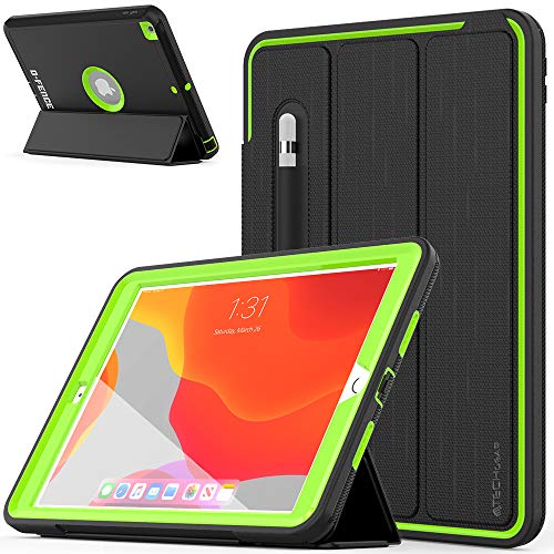 TECHGEAR D-FENCE Case Designed For Apple iPad 10.2' 2020/2019 8th / 7th Generation - Slimline Shockproof Tough Rugged Protective Armour Smart Case + Stand, Schools Builders Workman Kids Case [Green]