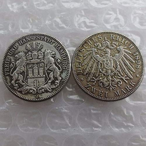 Rare Antique Ancient European Germany 1898 2 Reichsmark Silver Color Coin Seltene Münze