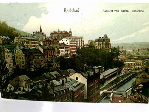 Karlsbad / Karlovy Vary / Tschechien / Böhmen. Aussicht vom Kaffee, Panorama. Alte, seltene AK farbig. gel. 1908. Ortsansicht, Gebäudeansichten, Fluss, Brücke, ehem. dt. Ostgebiete