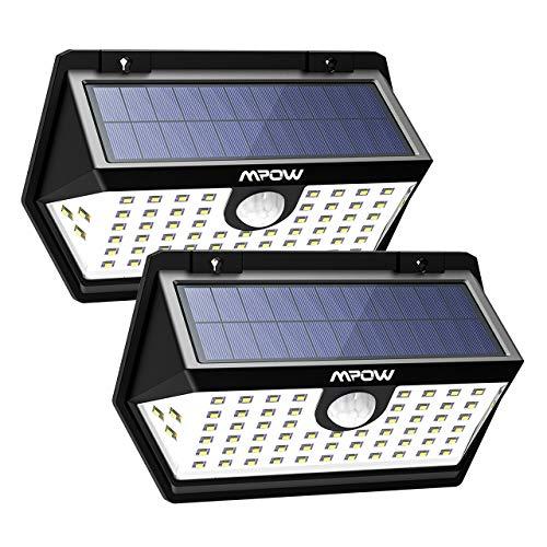 Mpow 120 ° Weitwinkel Solarleuchte mit Bewegungssensor, 63 LED Solarlicht, IP65 Wasserdicht, Solarbetriebene Sicherheitswandleuchte, 3 Modi, Sonnenkollektor, Superhell für Garten, Garage, Pfad, Weg