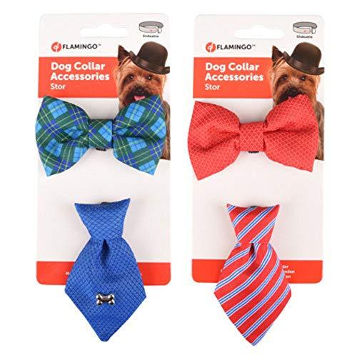 Flamingo - Zubehör für Halskette 1 Krawatte und 1 Fliege. blau oder rot. für Hunde - FL-518993
