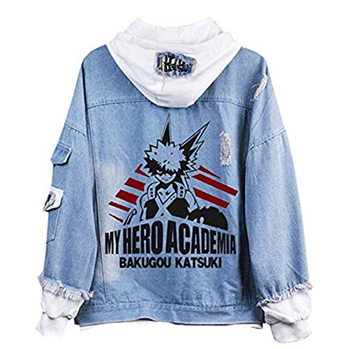 KIYOUMI My Hero Academia Jeansjacke, Denim Hoodie Jacke Erwachsenen Cosplay Jeans Mantel,D,M