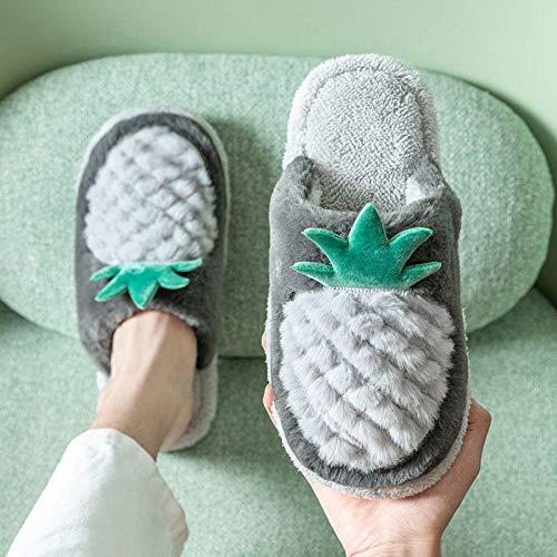 Hausschuhe Slipper Pantoffeln Damen Herren Frauen Winterrutschen Warme Hausschuhe Innen Niedlich Baumwolle Ananas Hausschuhe rutschfest Warme Drinnen Paar Hausschuhe Plüsch-6_8