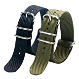 YISUYA 2pcs/lot 20mm G10 NATO Military Nylon Watch Straps Stainless Steel Pin Buckle Clap, 2.0cm Durable Canvas Fabric Watch Bands